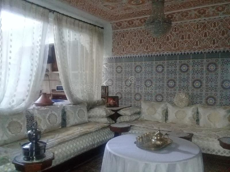 A Traditional Moroccan Living Room Stock Image - Image of ...