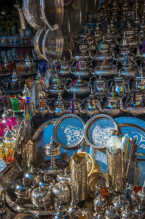 Traditional moroccan teapots stock image