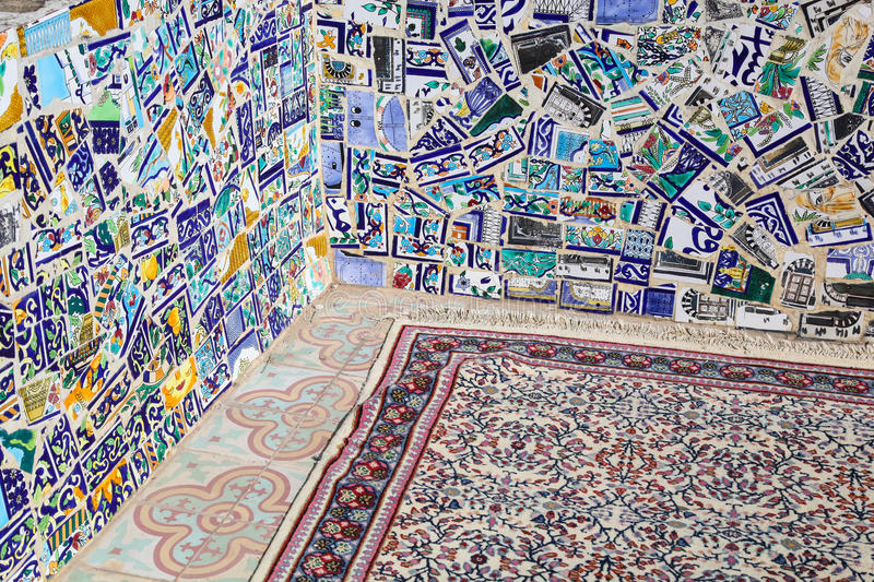Traditional mosaic and carpet in Tunis