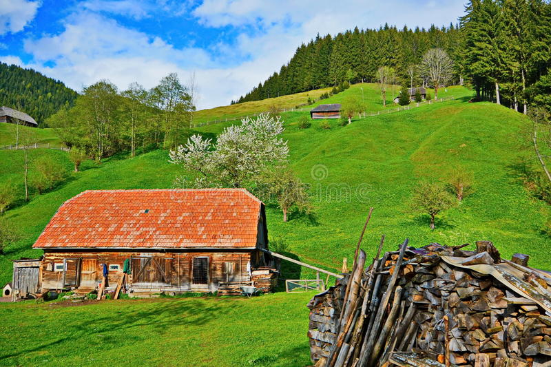 Traditional mountain house stock photography