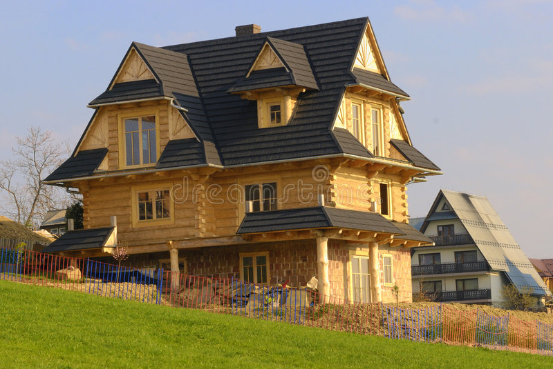 Traditional mountain wooden house stock photography