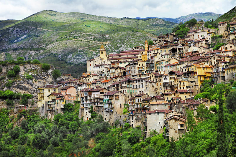 Traditional moutain villages in France. Saorge, Alpes Maritimes stock image