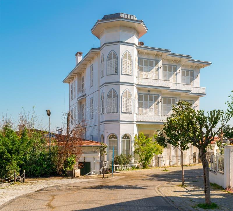 Traditional multi stories white wooden house, Princess Island Buyukada, Istanbul, Turkey stock images