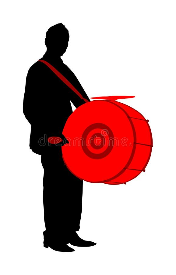 Traditional music instrument performer. Music man play drum on street silhouette illustration. Drummer. royalty free illustration