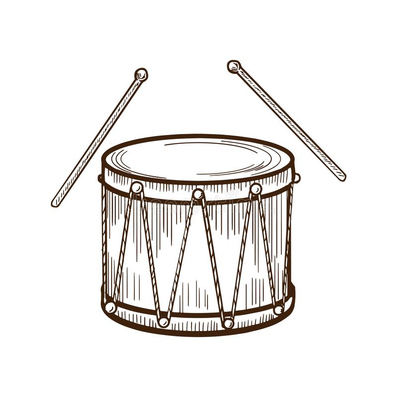 Traditional musical, carnival instrument drum with chopsticks. Entertainment, music, carnival. vector illustration