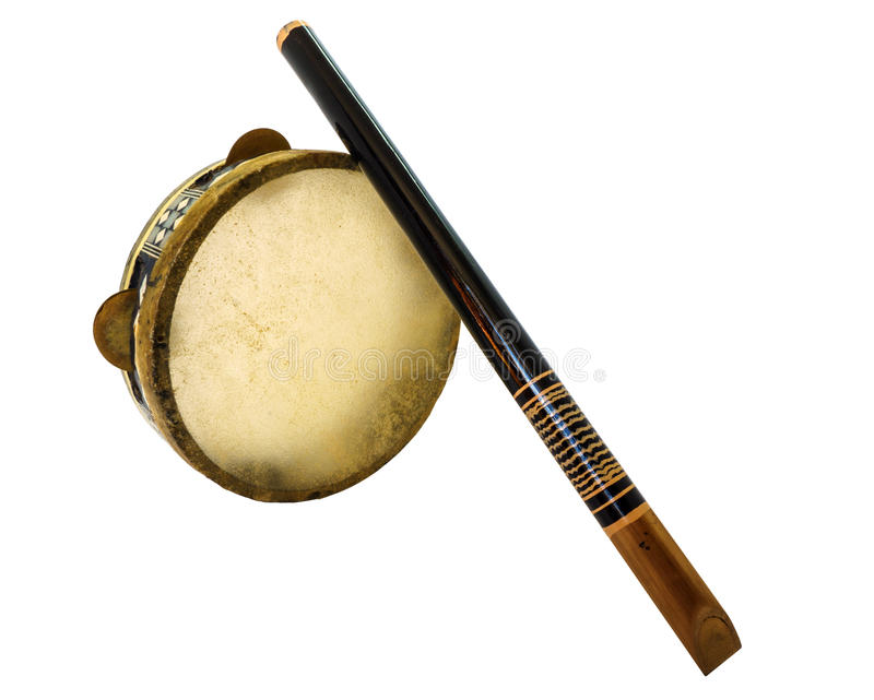 Traditional musical instument Djembe drum and flute royalty free stock images