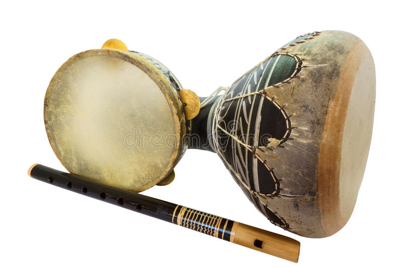 Traditional musical instument Djembe drum, tambourine and flute stock photo
