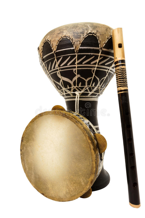 Traditional musical instument Djembe drum, tambourine and flute stock images