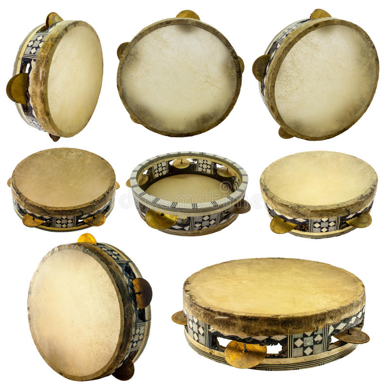 Traditional musical instument egyptian tambourine made of camel stock images