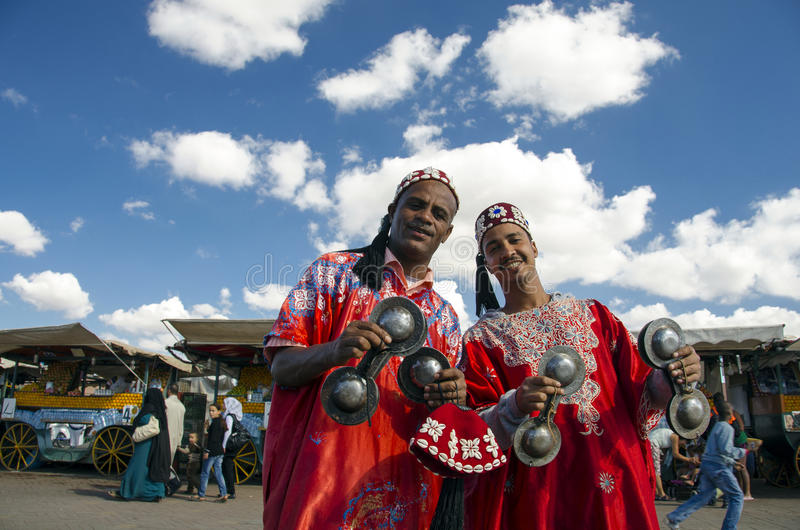 Traditional musicians in Marrakesh stock photography