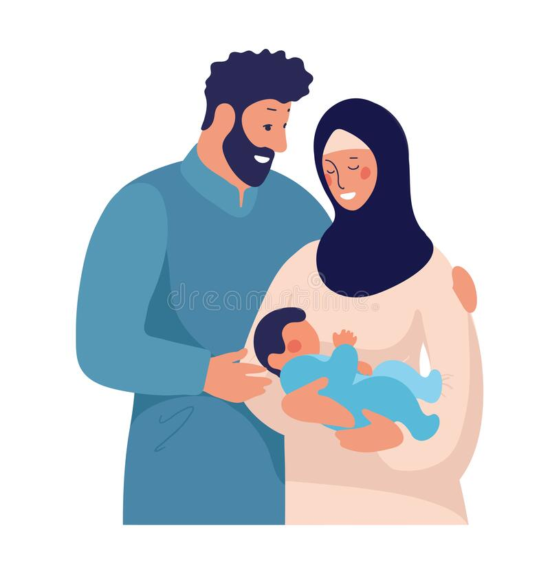 Traditional Muslim Family With Newborn Baby Happy Arab Man Hugs Child And Wife In Hijab Flat Cartoon Illustration Stock Vector Illustration Of Birth Mother 173738034