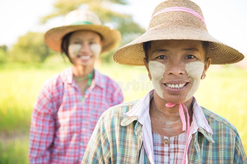 Traditional Myanmar female farmers portrait stock photography