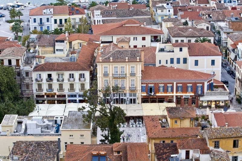 Traditional Nafplio city at peloponnese, Gre stock images