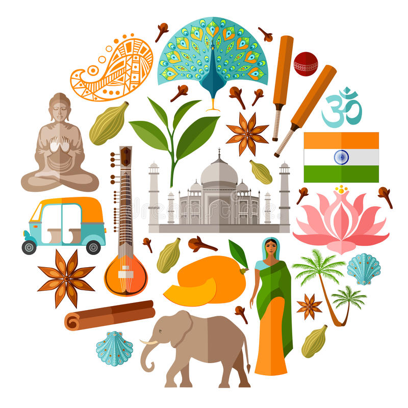 Traditional National Symbols Of India Stock Vector Illustration