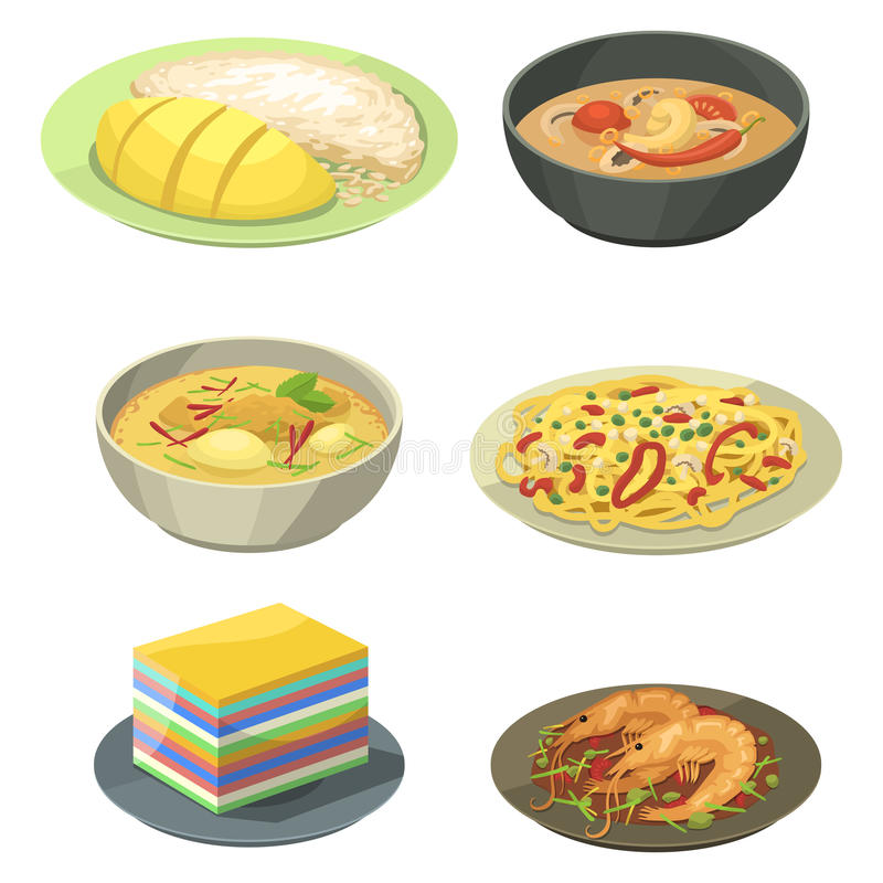 Traditional National thai food thailand asian plate cuisine seafood prawn cooking delicious vector illustration. royalty free illustration