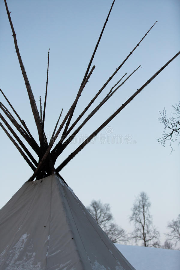 Traditional native Teepee in Arctic. In winter stock photography