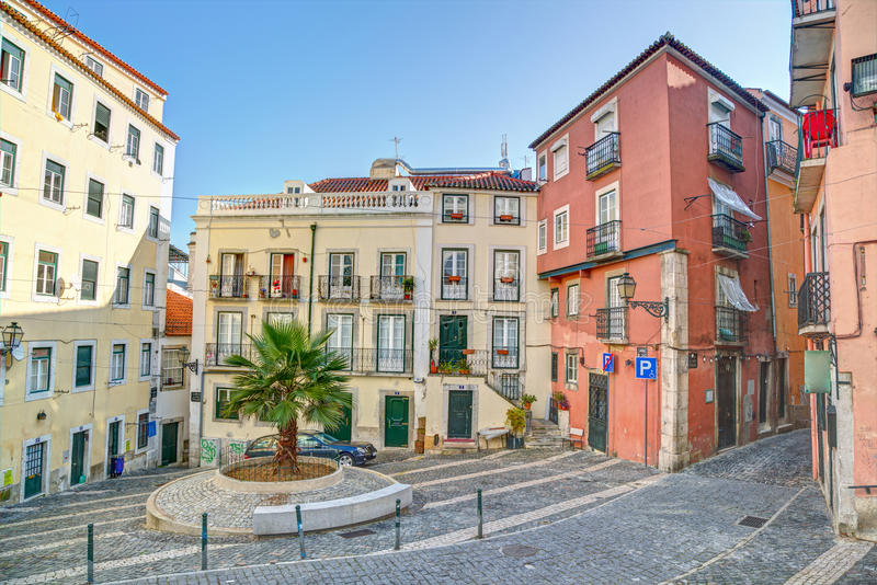 Traditional neighborhood (Alfama) in the city of Lisbon royalty free stock images