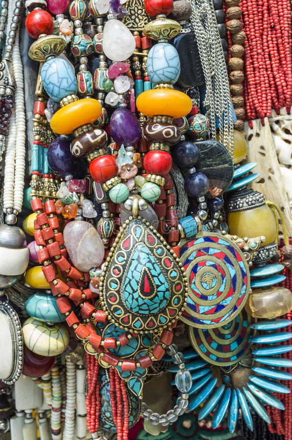 Traditional Nepalese Beads. Beautiful traditional Nepalese beads handicraft royalty free stock photography