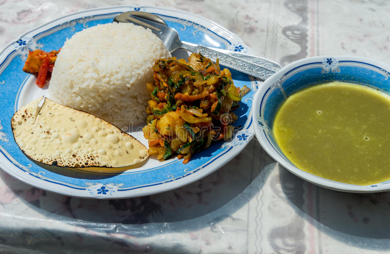 Traditional Nepalese dish Dal Bhat royalty free stock images
