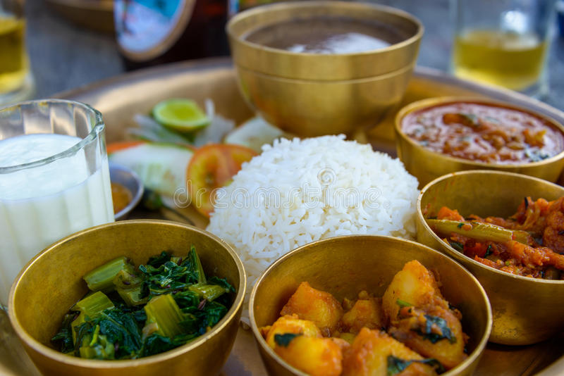 Traditional Nepalese thali. In a restaurant stock photo