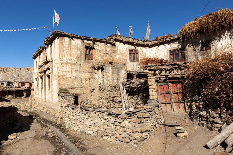 Traditional Nepalese village Jhong, Himalayas, Mustang Region. Traditional Nepalese village Jhong, Himalayas Mustang Region stock images
