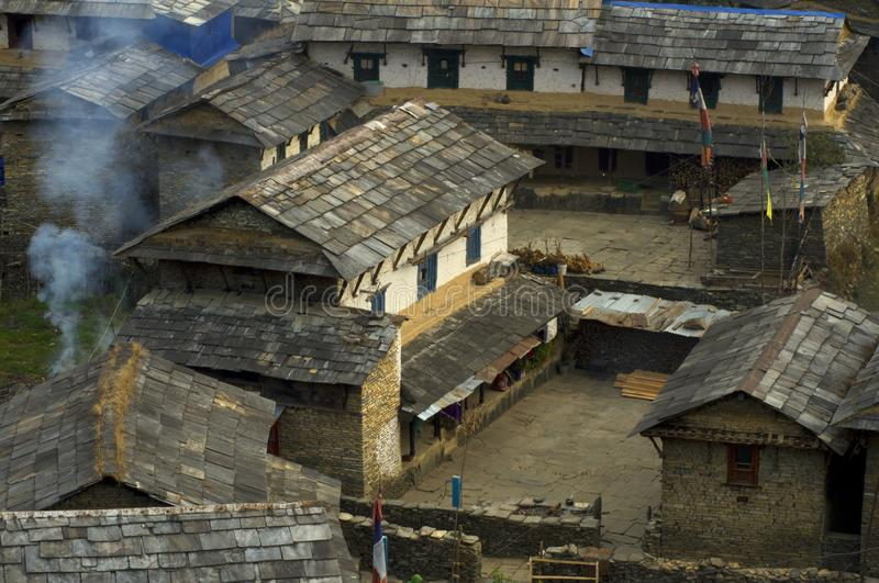 Traditional Nepalese village. Trekking to Annapurna Base Camp royalty free stock photos