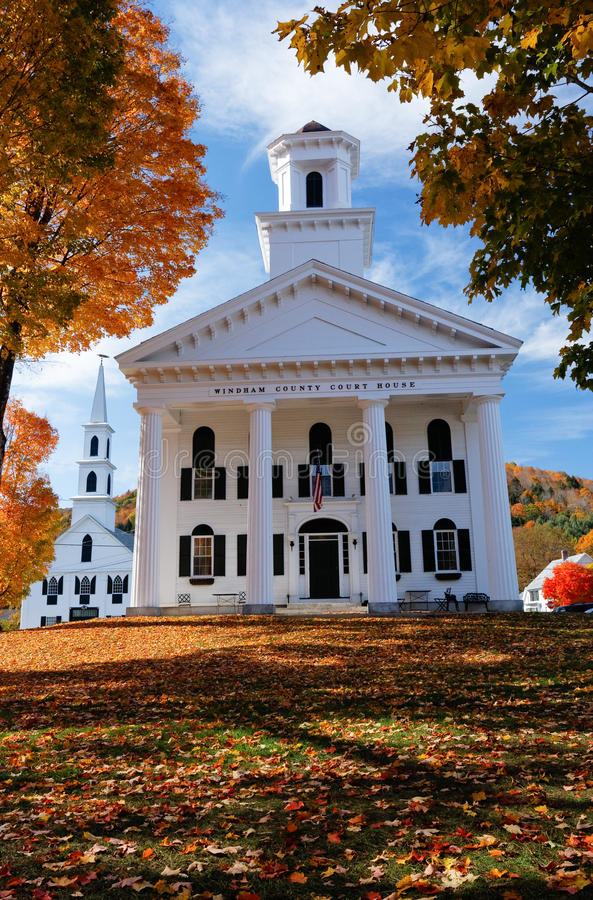 Traditional New England buildings in the fall. The Court House and Church in Newfane, Vermont New England, USA. Shot in the autumn showing the fall colours on stock photo