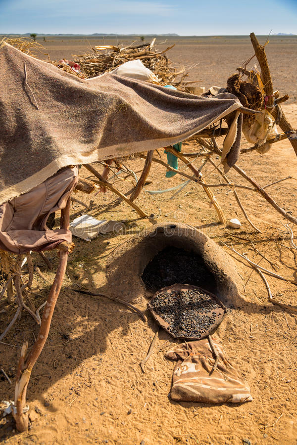 Download Traditional Nomadic Shelter With A Stove On Arabic Bread. Stock Image - Image: 83715787