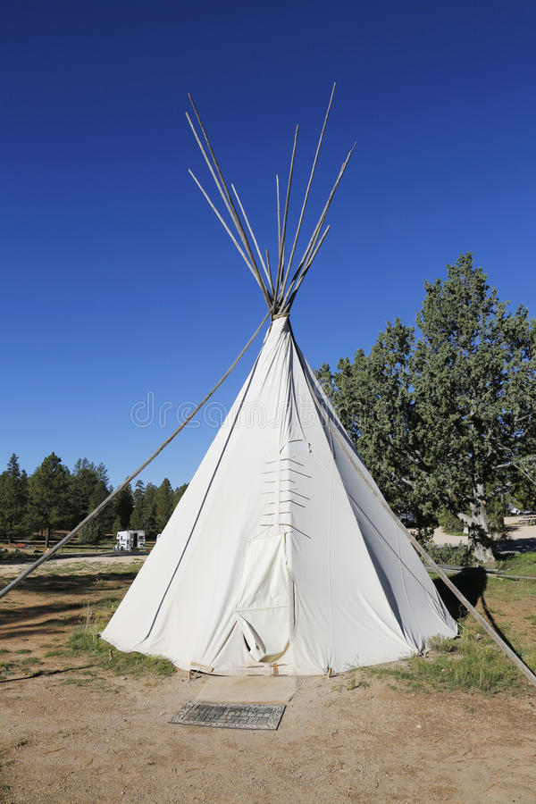 Traditional North American Teepee at RV Park near Zion National Park, Arizona. Traditional North American Teepee at RV Park near Zion National Park in Arizona stock photo