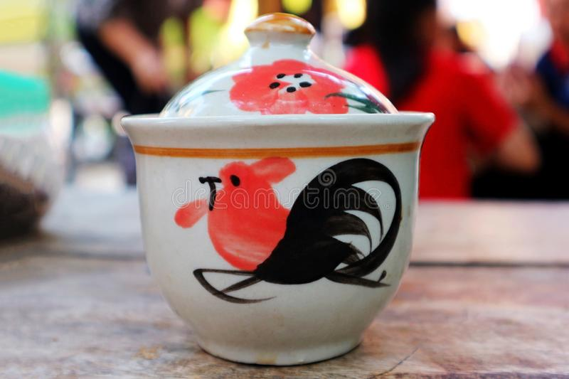 Traditional Northern Thai Rooster Ceramic Bowl royalty free stock photos