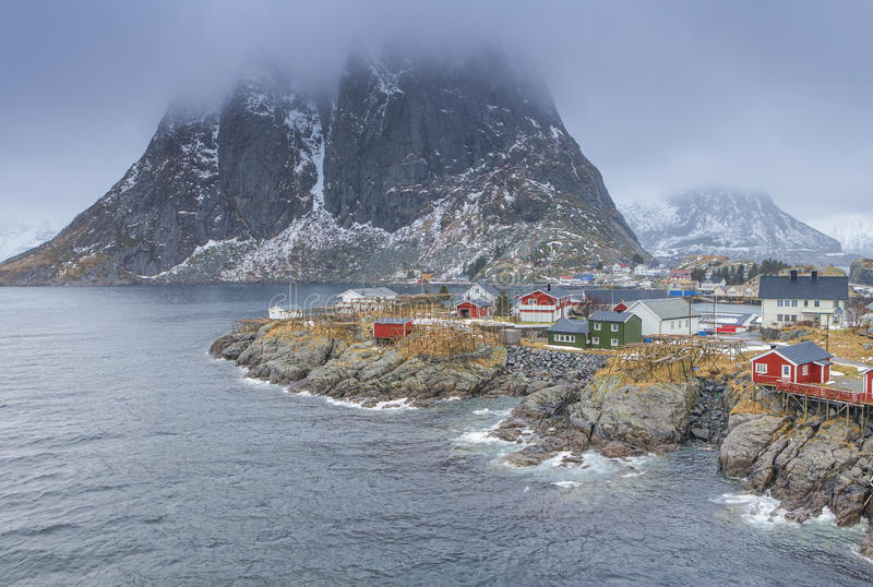 Traditional Norwegian Fishing Hut Village in Hamnoy During Early Spring Time. In Lofoten Islands, Norway.Horizontal Image Orientation royalty free stock image