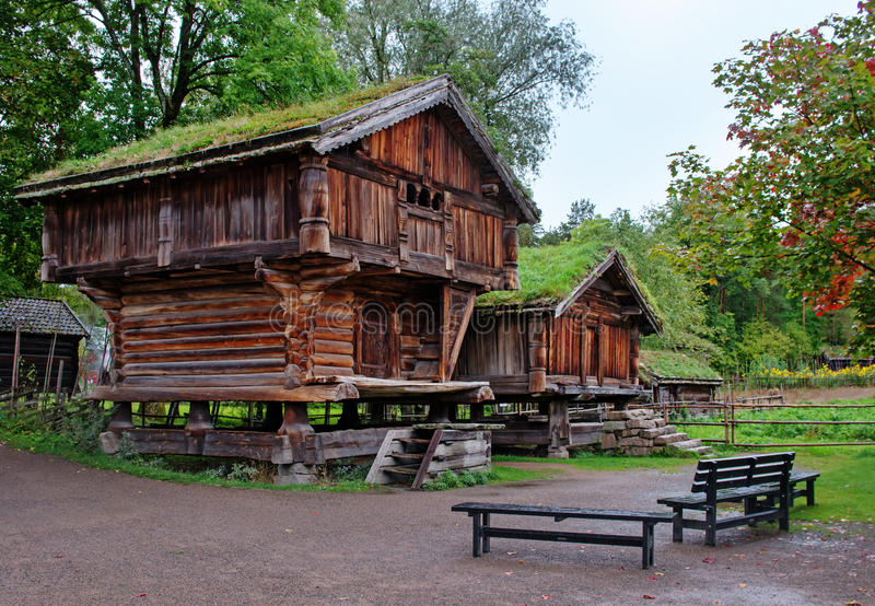 Traditional Norwegian House with grass roof. The Norwegian Museum of Cultural History, Oslo stock photo