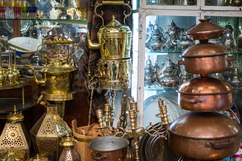Traditional objects in a craft market in Habous. Casablanca, Morocco - November 1, 2017 : traditional objects in a craft market in Habous stock photos