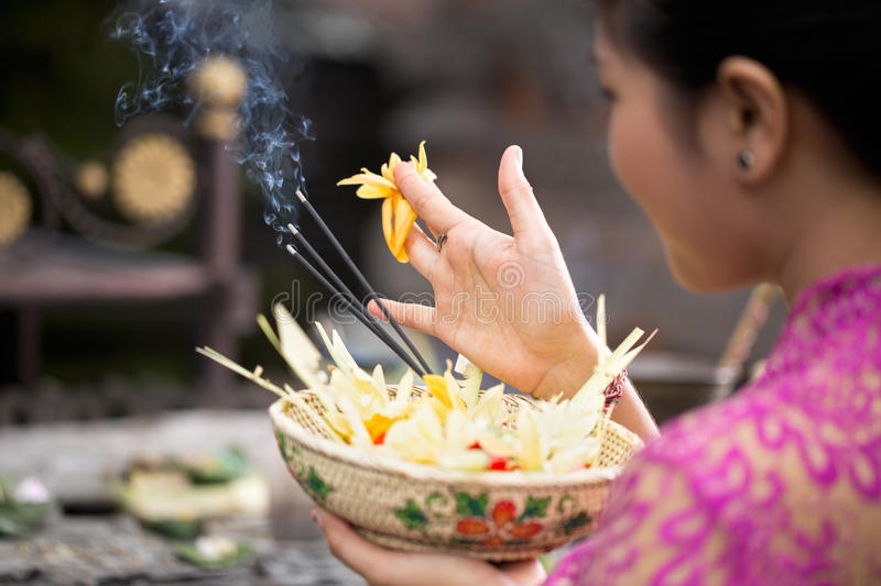 Traditional offering for gods. With aroma sticks royalty free stock images