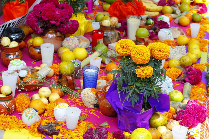 Traditional offering IV. Traditional offering as part of the celebration of the day of the dead, mexico city, mexico stock photography