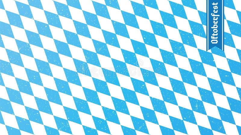 Traditional oktoberfest rhombus blue and white print. Bavarian flag. Vector background royalty free illustration