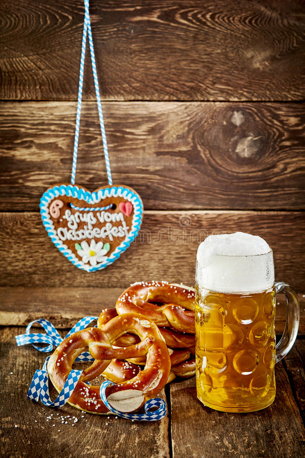 Traditional Oktoberfest snacks in a rustic tavern royalty free stock image