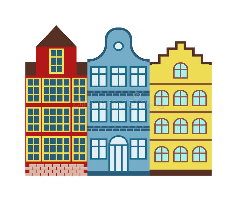 Traditional old buildings Amsterdam house netherlands architecture traditional travel vector. Amsterdam House cityscape and traditional amsterdam house dutch royalty free illustration