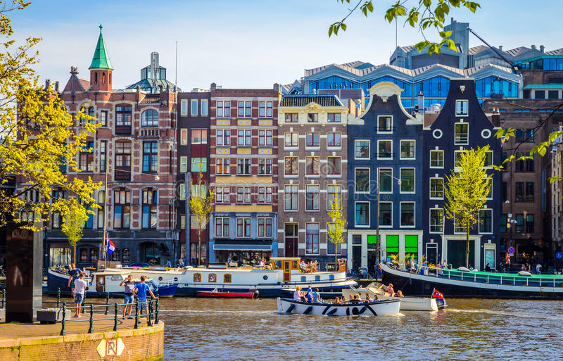 Traditional old buildings in Amsterdam, Netherland royalty free stock image