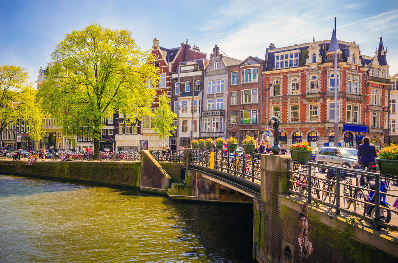 Traditional old buildings in Amsterdam, Netherland stock images