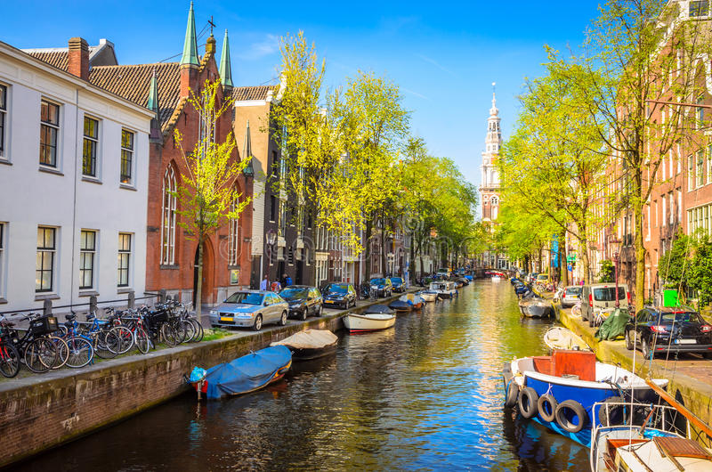Traditional old buildings in Amsterdam, Netherland royalty free stock photography