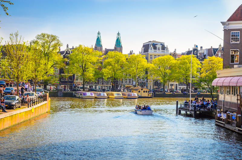 Traditional old buildings in Amsterdam, Netherland royalty free stock images