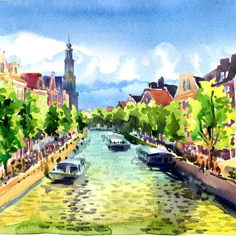 Traditional old buildings and boats on Amsterdam Canal, landscape, Holland, Netherlands, Europe, watercolor illustration. Traditional old buildings and boats on vector illustration