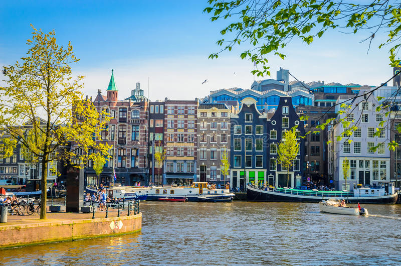 Traditional old buildings in Amsterdam, Netherland stock photos