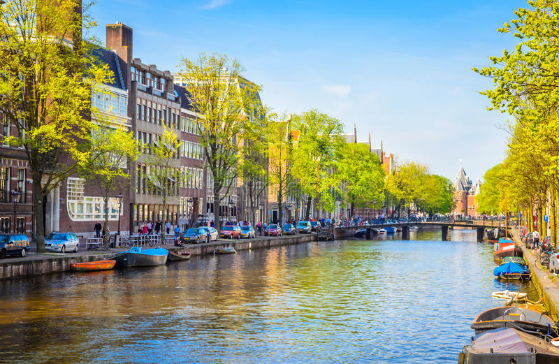 Traditional old buildings in Amsterdam, Netherland stock photography