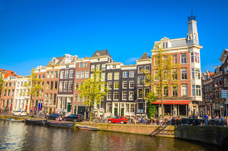 Traditional old buildings in Amsterdam, Netherland stock image