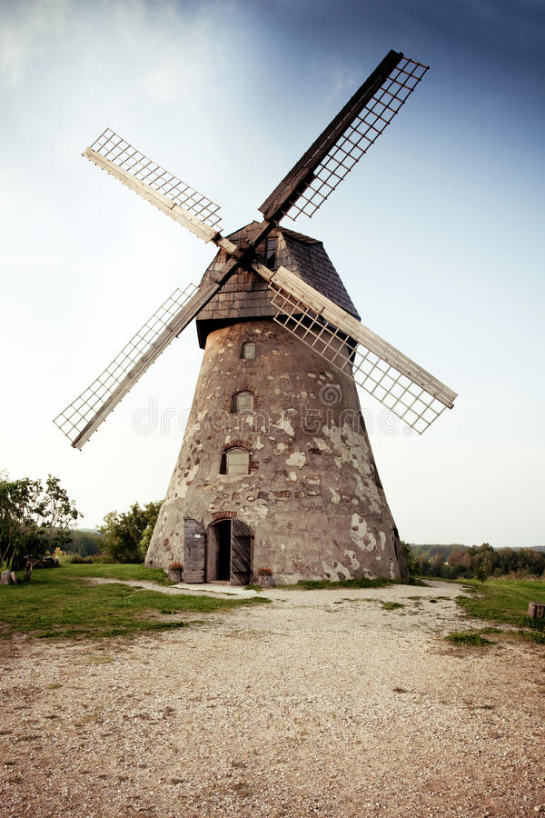 Traditional Old dutch windmill in Latvia stock photography