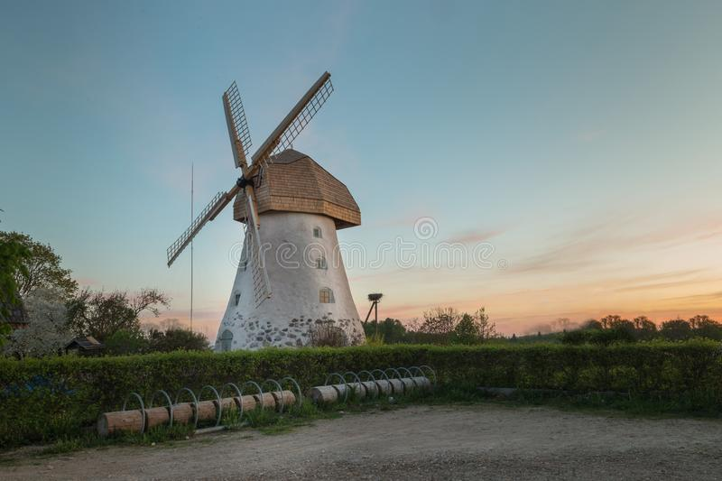 Traditional Old dutch windmill in Latvia. royalty free stock photos