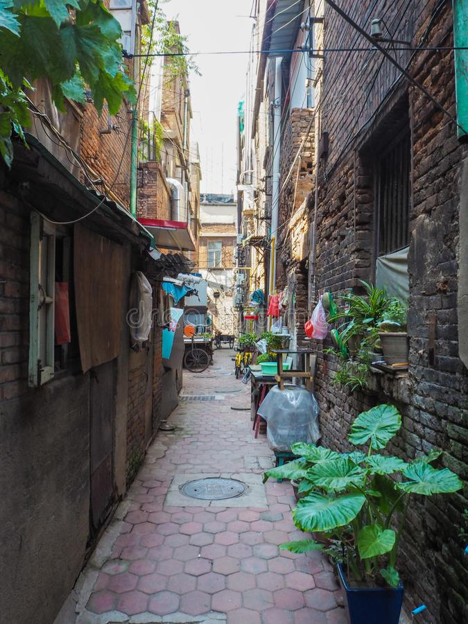 Traditional old neighborhood in Tianjin French concession. Tianjin, China - September 2017: Old houses in the French concession in the city center of Tianjin stock image