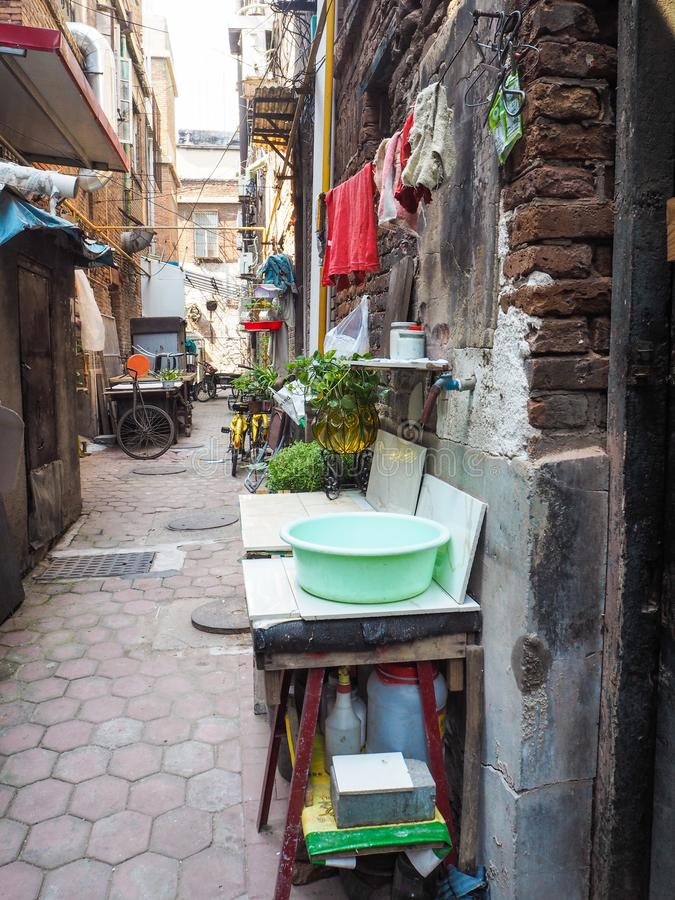 Traditional old neighborhood in Tianjin French concession. Tianjin, China - September 2017: Traditional neighborhood with old houses in the french concession in royalty free stock photo
